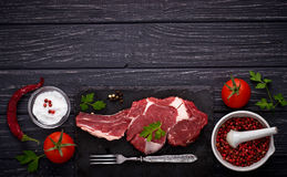 Raw meat steak entrecote Stock Photos