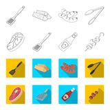 Raw meat steak, grill with handle, bottle of ketchup, shish kebab.BBQ set collection icons in outline,flat style vector. Symbol stock illustration Royalty Free Stock Photo