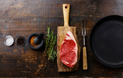 Raw meat Steak with ingredients and pan Stock Photo