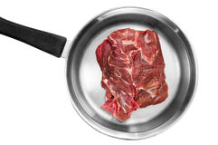 Raw meat steak in pan Stock Photo