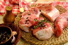 Raw meat steak pork sirloin parts for cooking Royalty Free Stock Image