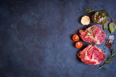 Raw meat steak on rustic concrete background ready to roasting Stock Image