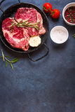 Raw meat steak on rustic concrete background ready to roasting Royalty Free Stock Photos