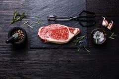 Raw meat Steak and seasonings Stock Images