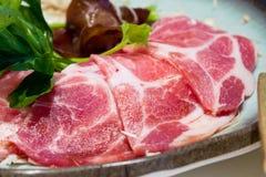 Raw meat sukiyaki Royalty Free Stock Photo