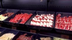 Raw meat on tray for hot pot buffet restaurant stock video footage