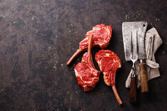 Raw meat Veal ribs and Vintage kitchen utensils. Raw fresh meat Veal ribs and Vintage kitchen utensils on dark background royalty free stock image