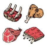 Raw meat vector drawing set. Hand drawn beef steak, pork ham, la. Mb rib, minced chicken forcemeat. Raw food ingredient. Vintage sketch. Butcher shop product stock illustration