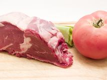 Raw meat with vegetables. 
