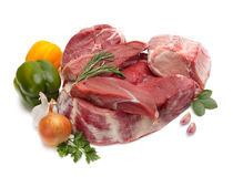 Raw meat with vegetables. Isolated Royalty Free Stock Photos