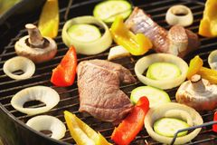 Raw meat and vegetables on barbecue grill. Close up Stock Photos