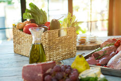 Raw meat and vegetables. Stock Photography