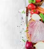 Raw meat and vegetables Stock Photography
