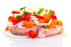 Raw meat, vegetables mix for teppanyaki isolated Stock Image