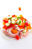 Raw meat, vegetables mix for teppanyaki isolated Stock Images