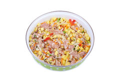 Raw meat with vegetables. In a pan isolated on white background Royalty Free Stock Photos