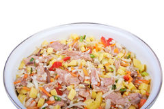 Raw meat with vegetables. In a pan isolated on white background Stock Images
