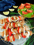 Raw meat with vegetables on skewers. Processed product for shashlik cooking Royalty Free Stock Photos