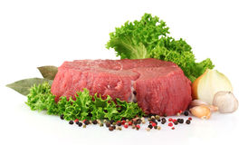 Raw  meat, vegetables and spices Royalty Free Stock Image