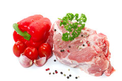 Raw meat with vegetables and spices Royalty Free Stock Images