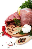 Raw meat, vegetables and spices. Stock Photos