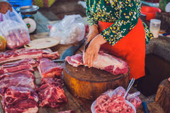 Raw meat on the Vietnamese market Royalty Free Stock Photography