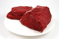 Raw meat on white dish Stock Image