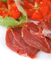 Raw meat on white plate Stock Image