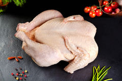 Raw meat. Whole chicken uncooked poultry in black stone background Stock Photography