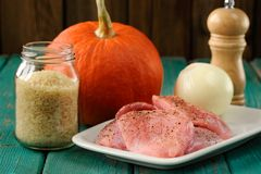 Raw meat, whole pumpkin, onion and rice with pepper mill. Horizontal royalty free stock photos