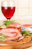 Raw meat, wine Royalty Free Stock Images