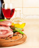 Raw meat and wine Royalty Free Stock Photos