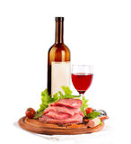 Raw meat, wine and spices Royalty Free Stock Images