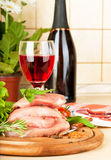 Raw meat, wine and spices Royalty Free Stock Image