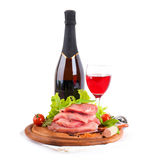 Raw meat, wine and spices Royalty Free Stock Photo