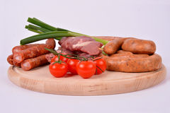 Raw Meat on Wooden Board. Decorated Stock Image