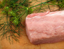 Raw meat on wooden cutting Board. With dill, close up Stock Photos