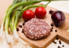 Raw meatball on a chopping board and ingredients. horizontal. cl. Ose-up Stock Photography