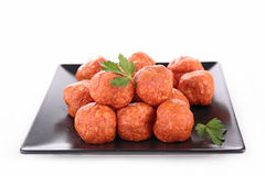 Raw meatball. Isolated on white Royalty Free Stock Images