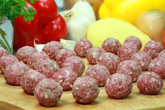 Raw meatballs. Royalty Free Stock Image