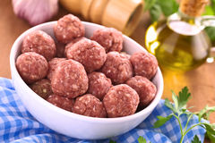 Raw Meatballs Stock Image