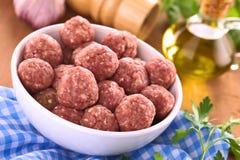 Raw Meatballs stock image