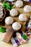 Raw meatballs on the chopping. Board Royalty Free Stock Photos