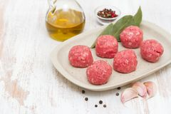 Raw meatballs on the dish on wooden background. Raw meatballs on the dish on white wooden background Stock Photos