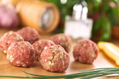 Raw Meatballs Stock Photos