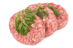 Raw meatballs of ground beef with dill Stock Image