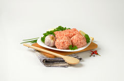 Raw meatballs stock photography