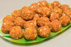 Raw meatballs on a platter. Close up Stock Photography
