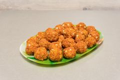 Raw meatballs on a platter. On the table Royalty Free Stock Photos