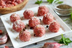 Raw  meatballs are ready to cook. Raw  meatballs are ready to  cook Stock Photo